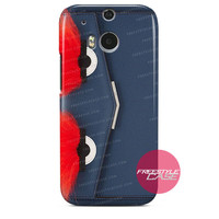 Leather Clutch with Fox Fur Navy Blue Red Eye-Fendi HTC One Case M9 M8 One X Cover