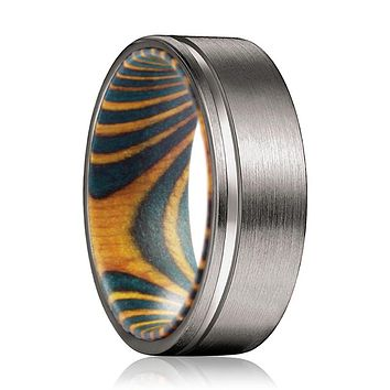 BECK Gunmetal Flat Grooved Ring with Green and Yellow Box Elder Wood Sleeve Inlay