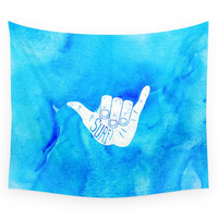 Society6 Surf Hang Loose Hawaiian Ocean Blue Hip Watercolor Wall Tapestry