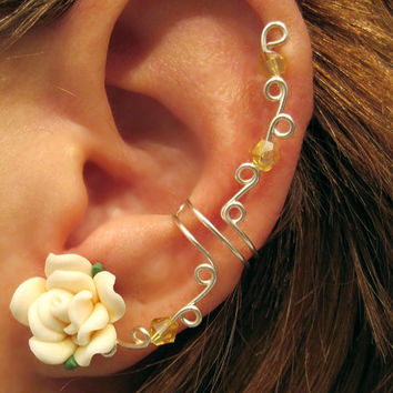 "No Piercing Prom Cartilage Ear Cuff ""Spring Rose"" Wedding Bridal No Piercing Helix Conch Color Choices"