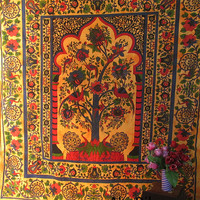 Large Queen Size Cotton Tree of Life Tapestry with Peacocks Wall Hanging Indian Bedspread Hippie Bohemian Throw Ethnic Home Decorative Art