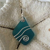 Handmade in Hawaii, Wire wrapped teal blue sea glass necklace,925 sterling silver chain,gift box,Hawaii Beach jewelry