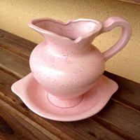 Pitcher and Bowl Set, Ceramic Pitcher and Bowl, Mid Century Pitcher Bowl Set, Baby Pink Ceramic Pitcher, Soft Pink Pitcher Bowl, Pink Pot