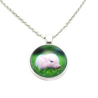 Pink Pig Necklace, Pink Pig Jewelry, Baby Pig Necklace, Pink Pig Pendant, Baby Pig Jewelry, Pig Lovers Necklace, Cute Pink Piggy, Pig Charm