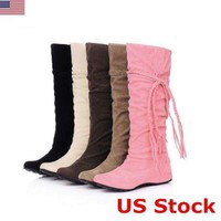 US Women Faux Suede Flat Knee High Boots Sexy Tassel Loose Lace Up Outdoor Shoes