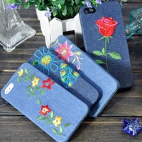 MagicPieces Red and Yellow Flower Embroidery Denim Jeans Fabric Snap On Back Hard Case for iPhone 5