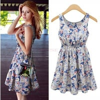 Sexy Women's Sleeveless Floral Casual Summer Cocktail Party Chiffon Dress  SV003790|26601 = 1745742596