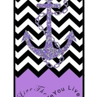 iZERCASE Live the Life You Love, Love the Life You Live. Purple Black and White Chevron with Anchor Rubber iPhone 5 / iPhone 5S Case - Fits iphone 5, iPhone 5S T-Mobile, AT&T, Sprint, Verizon and International