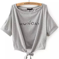 Grey Shoulder Cutout Letters Print Knotted Short Sleeve T-Shirt