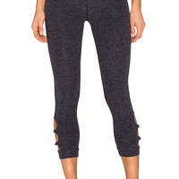 Beyond Yoga Space dye Circle Cut-Out Capri Legging in Black Steel