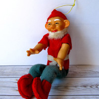 VINTAGE - 1960's Felt Papa Elf Christmas Ornament - Made in Japan - Collectibles