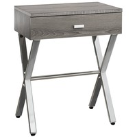 Accent Table - Dark Taupe, Chrome Metal Night Stand
