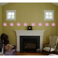 WALL PATTERN DECAL WEED Pink MARIJUANA POT PLANT LEAF VINYL STICKER ROOM DECORATION