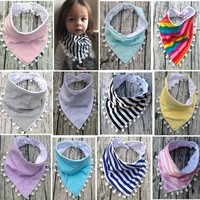 2017 Stripe Cotton Bibs Burp Cloths Baby Girl and Boy Bandana Bib for Babies Stuff Kerchief Eating Drool Apron Thickening