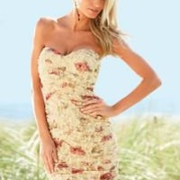 Ruched printed flower lace tube dress in the VENUS Line of Dresses for Women