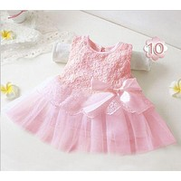 2017 summer cute infant baby girls Sleeveless princess dresses kid children toddlers clothing vestido infantil pink white DY009A