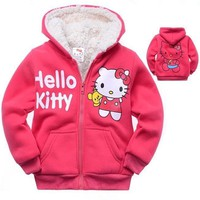 New Winter Girls Jacket Hello Kitty Cartoon Coat Cotton-Padded clothes  Children's Keep Warm Coat Kids Clothes