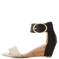 City Classified Color Block Low Wedge Sandals