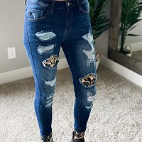 Leopard Accent Kan Can Jeans
