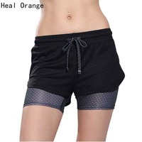 Heal Orange Women Sport Running Shorts Workout Gym Woman Elastic Bottoms Fitness Jogging Female Yoga Short Pants Training Shorts