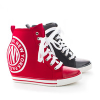 Osscar02 New York Fashion Lace Up High Wedge Heel Sneakers