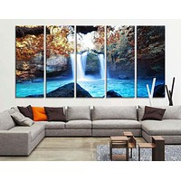 Large Art Print Waterfalls in Forest Canvas Prints Waterfalls and Lake Large Art Canvas