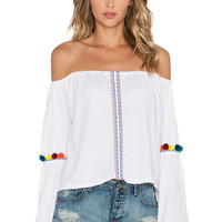 Pitusa Pom Pom Crop Top in White