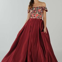 Burgundy Off-the-Shoulder Embroidered Long Prom Dress with Pockets