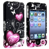Insten Heart with Butterfly Snap-On Case for Apple iPhone 4/4S - Retail Packaging - Multi