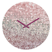 Lisa Argyropoulos Girly Pink Snowfall Round Clock