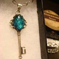 Small Blue Fused Glass  Key Pendant Necklace in Antique Silver (1783)