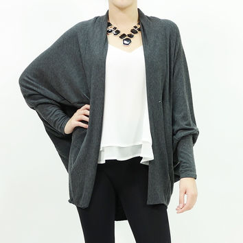Solid open front draped cardigan long sleeve sweater