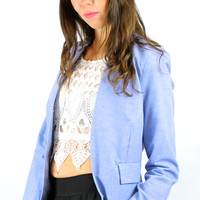 Meet Me There Casual Chambray Blazer - Light Blue