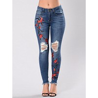 Pretty Embroidered Ripped Stretch Jean Pants Bottoms