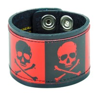 "Black & Red Skull & Crossbones Leather Wristband Cuff Bracelet 2"" Wide"