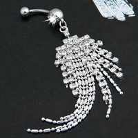 New Tassel Navel Piercing Crystal Rhinestone Dangle Belly Button Ring 316L Surgical Steel Fashion Body Jewelry Clear Gem 1Pc