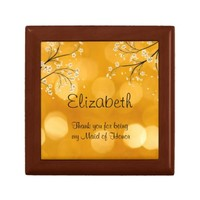 Maid of Honor Gift Box, Sunny Yellow with Flowers