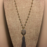 Long Rosary Crystal Beaded Chain Antique Gold Necklace Agate Stone and Leather Tassel Gray