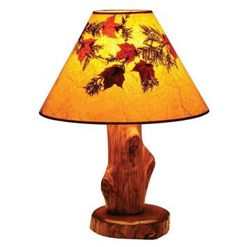 Vintage Cedar Table Lamp with Large Foliage Lamp Shade