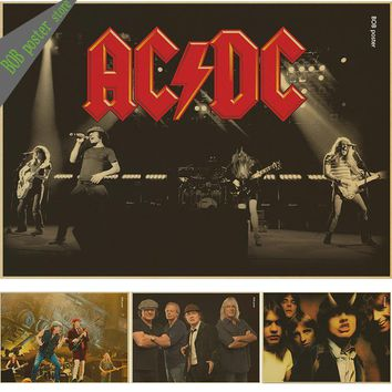 ROCK ROLL BAND ACDC retro Kraft Paper Poster vintage Wall Sticker Living Room Painting bar home pub cafe decor