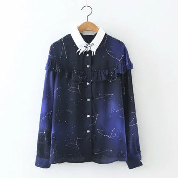 Fashion Women Constellation printing Lotus leaf edge Shirts Long sleeve Blouse Casual lady Tops chemise femme blusas S1119