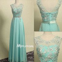 Mint Green Illusion Chiffon Prom Dress With Lace Appliques Bodice