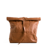 Brown Vegan Leather Rolltop Backpack and Tote Bag, Wanderlust Carry All Vacation or City Bag. VeganeTaschen