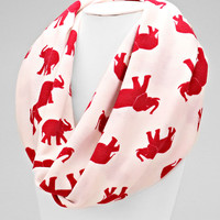 Elephant White & Red Scarf