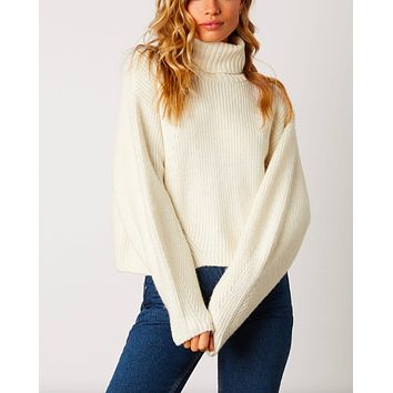 Final Sale - Boxy Turtle Neck Dropped Shoulder Sweater with Balloon Sleeves in Ivory