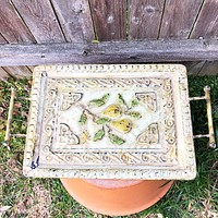 Toscany Pear Embossed Metal Footed Tray