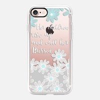 Her children call her blessed - daisies on transparent iPhone 7 Case by Micklyn Le Feuvre | Casetify