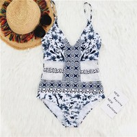 One Piece Bathing Suit PLAVKY Sexy Vintage V Neck White Blue Floral Cut Out Mesh Trikini Bathing Suit Monokini Thong Swimwear Women  Swimsuit KO_9_1