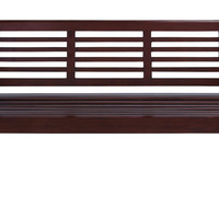 """Contemporary 35"""""""" Wooden Bench with Glossy Brown Texture"""
