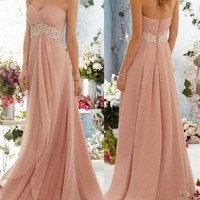 New beaded sequins combined Chiffon Formal Evening Ball Gown Dress Sexy Strapless Bride Wedding Bridesmaid/Pageant/Homecoming Dress